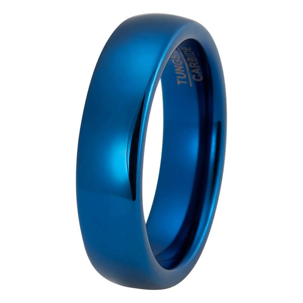 Blue Wedding Band Tungsten Carbide Mens Wedding Band Man Engagement Ring Male Wedding Ring Anniversary Promise High Polished 6mm Matching Blue Ring Scratch Proof - TungstenWeddingBands