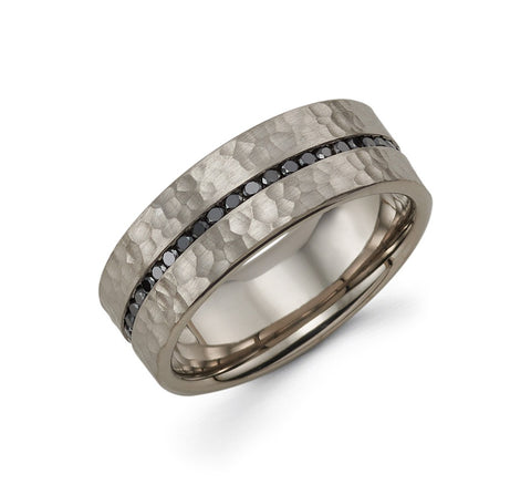 Mens 14k Grey Gold Diamond Wedding Band - TungstenWeddingBands