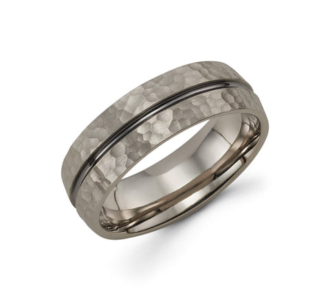 Mens 14k Grey Gold Wedding Band - TungstenWeddingBands