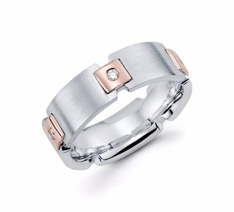 Mens 14k Rose Gold Diamond Wedding Band - TungstenWeddingBands