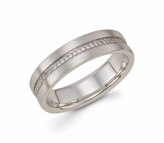 Mens 14k White Gold Diamond Wedding Band - TungstenWeddingBands