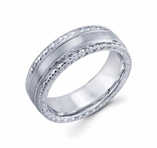 Mens 14k White Gold Wedding Band - TungstenWeddingBands