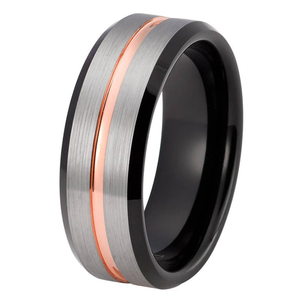 Mens Wedding Band Rose Gold Ring 18k Tungsten Carbide Brushed Man Engagement Ring High Polished 8mm Rose Gold Anniversary Ring Silver Rose Gold Wedding Band - TungstenWeddingBands