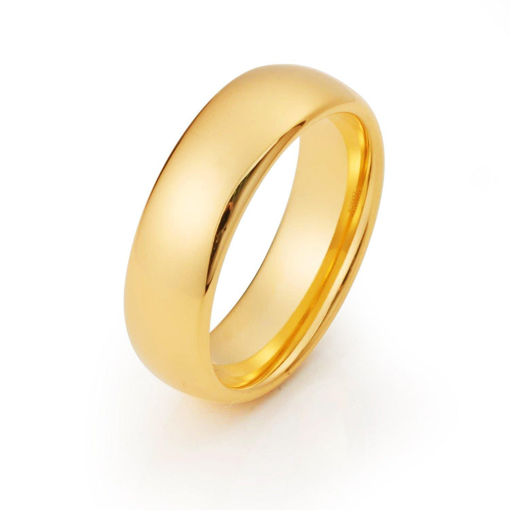 Mens Yellow Gold Wedding Band Tungsten Wedding Rings