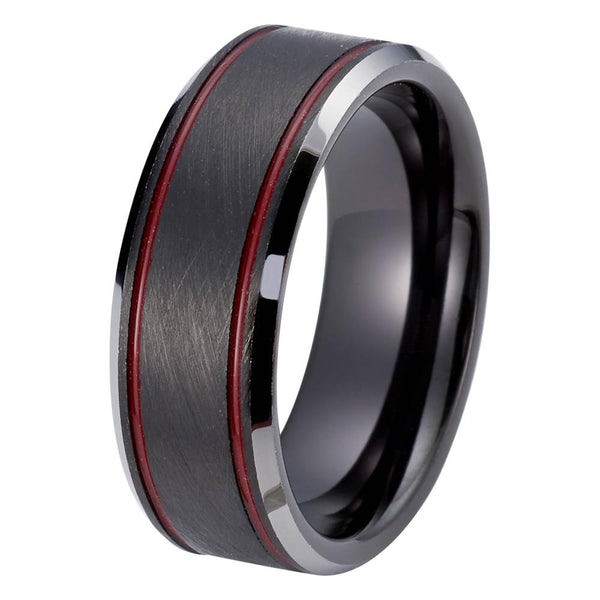 Wedding Ring - Red Black Wedding Ring Mens Wedding Band Tungsten Carbide Brushed 8mm Tungsten Ring Red Black Wedding Band Man Engagement Ring Male Anniversary Promise Black Ring Scratch Proof