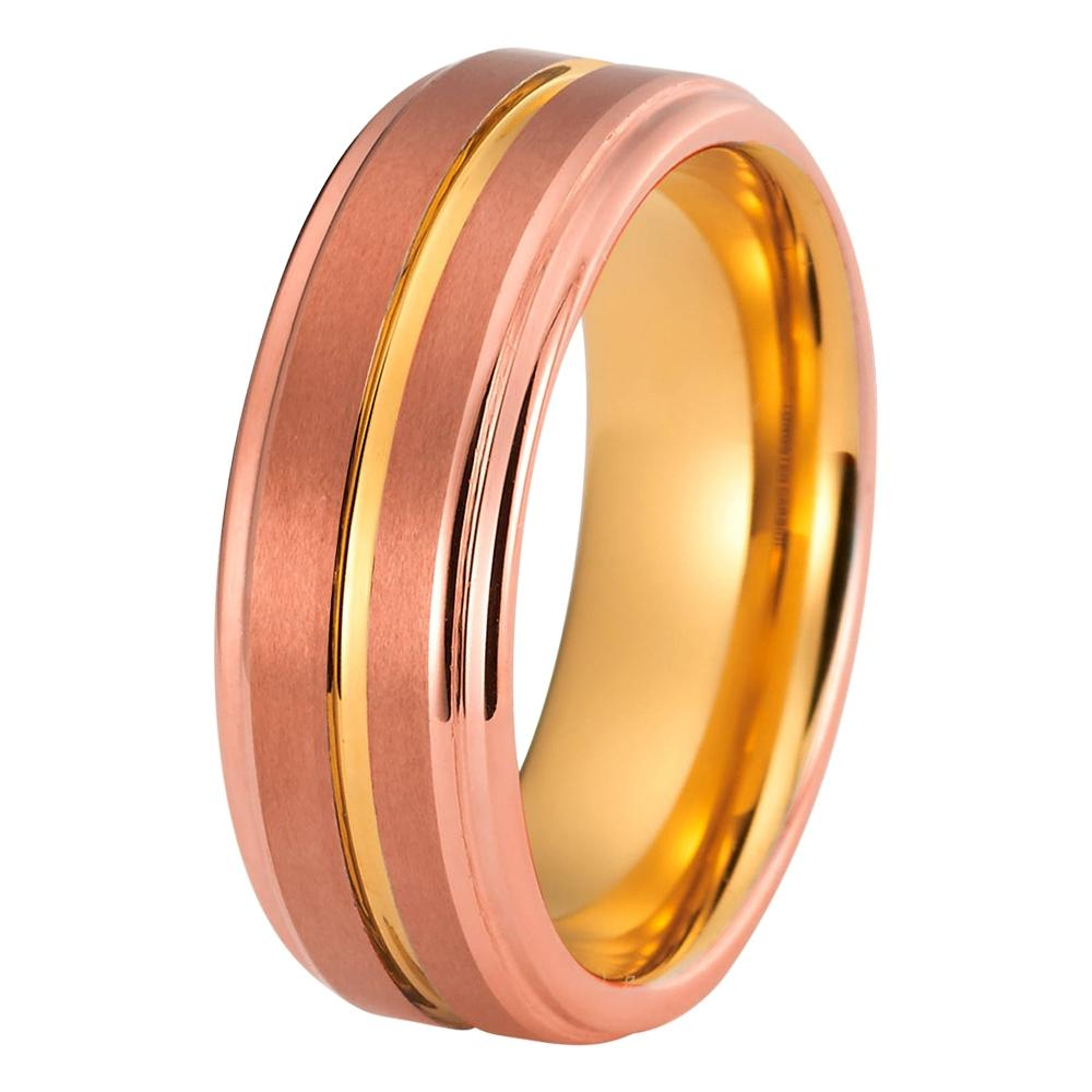 Rose Gold Wedding Band Tungsten Wedding Rings TungstenWeddingBands
