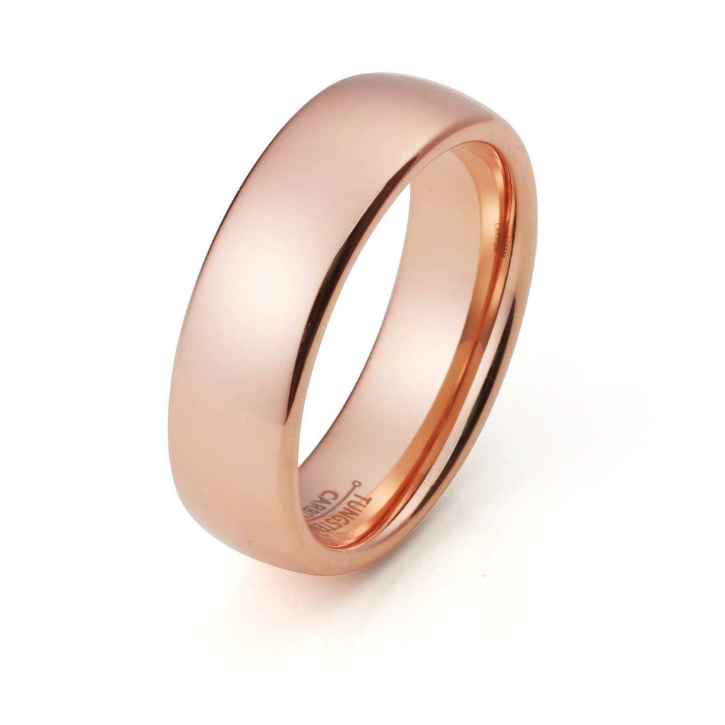Wedding Ring   Tungsten Ring Rose Gold Wedding Band Ring Tungsten Carbide  8mm 18K Tungsten Ring