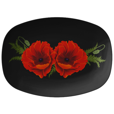Red Orange Poppies Serving Platter 10