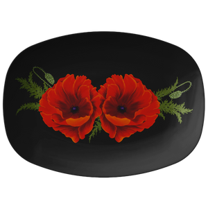 "Red Orange Poppies Serving Platter 10""X14"" ~ Holiday Collection ~ Black"