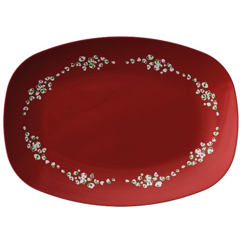 Red white Floral Serving Platter Christmas Holiday Collection