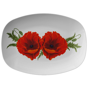"Red California Poppies White Serving Platter 10""X14"" ~ Christmas Holiday Collection"