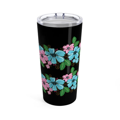 Black floral design Tumbler 20oz, Holiday Gift, Christmas Gift, Coffee Mug, Latte Mug, Tea cup, Coffee cup