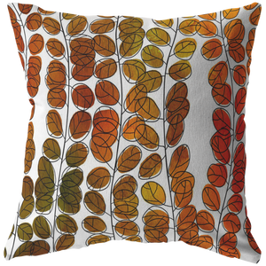 Fall Leaves Design Stuffed Sewn Zip With Insert Pillow ~ Holiday Collection