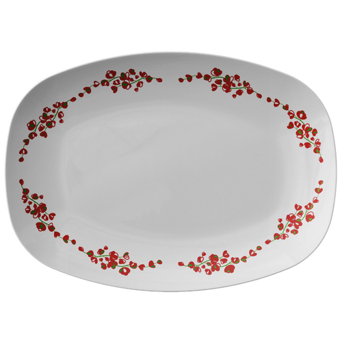 Red And White Floral Serving Platter 10