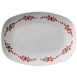 "Red And White Floral Serving Platter 10"" X. 14"" - Christmas Holiday Collection"