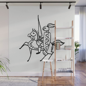 Knight On A Horse Contemporary Wall Mural Panels - 8' x 8'