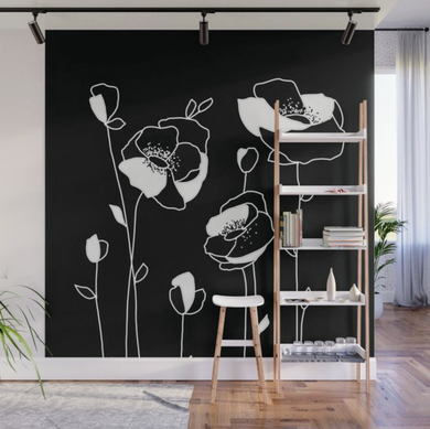 Black Contemporary Floral Wall Mural Panels - 8' X 8'