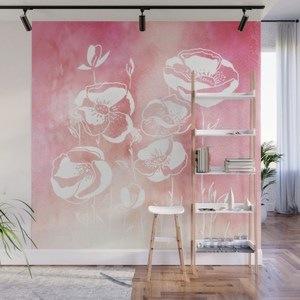 Pink Peach Contemporary Floral Wall Mural Panels 8' X 8'