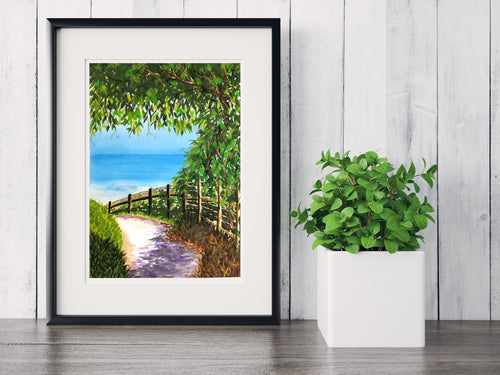 Sunset Beach ~ Watercolor Painting ~ Giclee Print