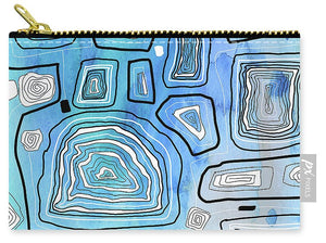 Aqua blue Abstract Geometric Design - Carry-All Pouch