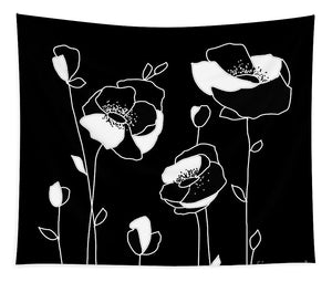 Black White Flowers - Tapestry
