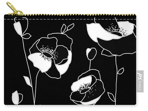Black White Flowers - Carry-All Pouch