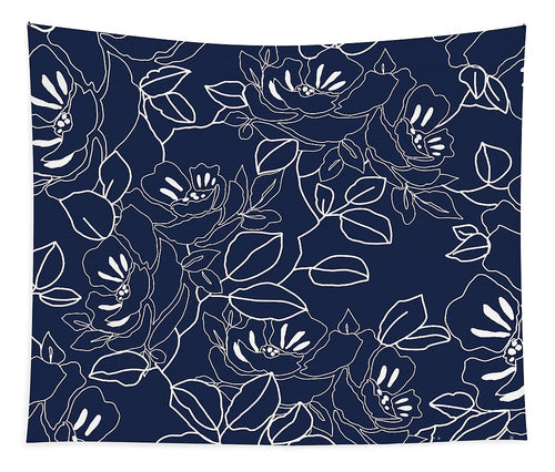 Blue Contemporary Floral Design - Wall Tapestry