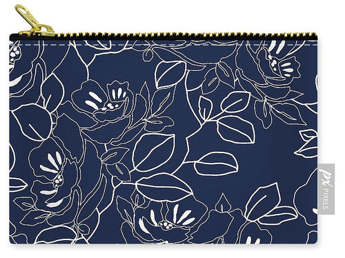 Blue Contemporary Floral Design - Carry-All Pouch, Make up Pouch, Pencil Pouch