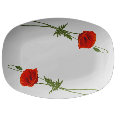 Red Poppies White Serving Platter 10