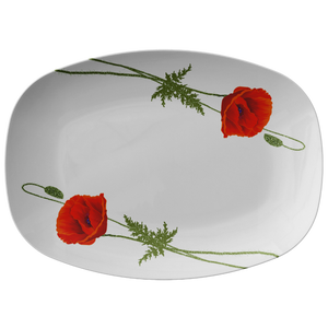 "Red Poppies White Serving Platter 10""X14"" ~ Christmas Holiday Collection"