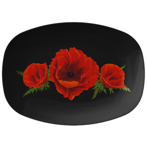 "Poppies Red Orange Serving Platter 10""X14"" ~ Holiday Collection ~ Black"