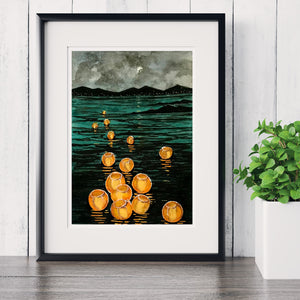 Lanterns On The Lake ~  Watercolor Giclee Print