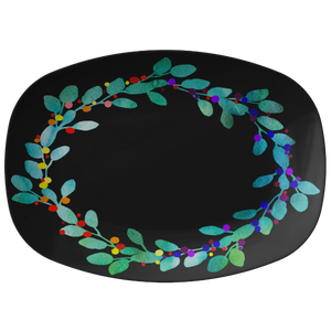 Watercolor Wreath Black Serving Platter Holiday Collection