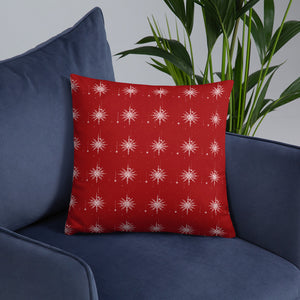 Red Snowflake Throw Pillow - Holiday Collection