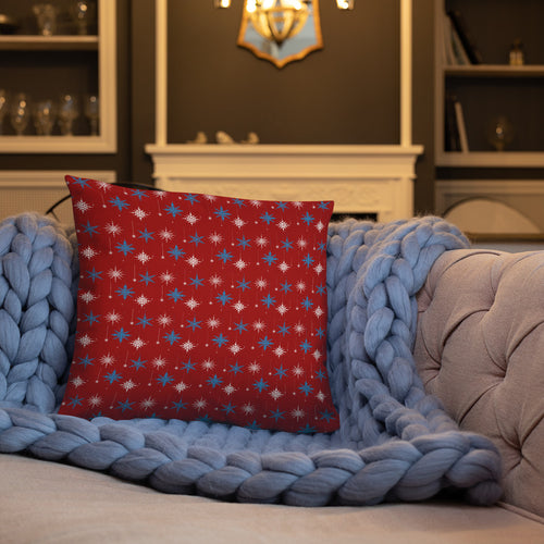 Red, Blue And White Snowflake Throw Pillow - Holiday Collection