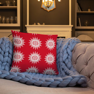 Red And White Mandala Pillows - Holiday Collection