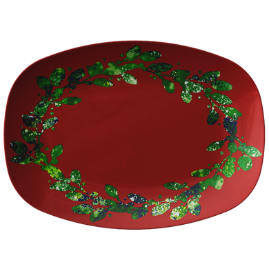 Red And Green Leaves Design Serving Platter Holiday Collection