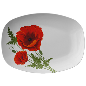 "Red Orange Poppies Serving Platter 10""X14"" ~ Holiday Collection ~ White"