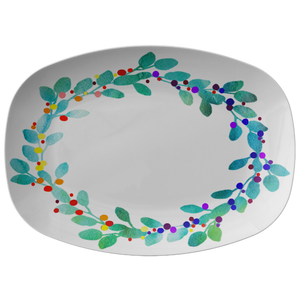Watercolor Wreath Serving Platter Holiday Collection