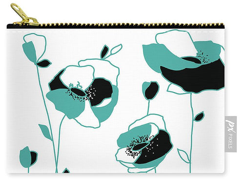 Teal Abstract Flowers - Carry-All Pouch