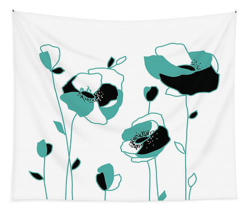 Teal Abstract Flowers - Tapestry
