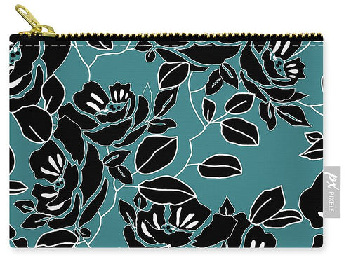 Teal Black Floral Design - Carry-All Pouch