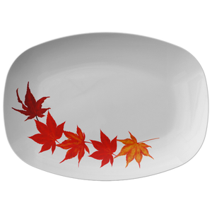 "Red Orange Fall Leaves Design 10""X14"" White Serving Platter ~ Christmas Holiday Collection"