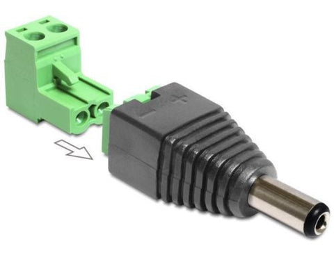 Delock Adapter DC 2.1x5.5mm male > Terminal Block 2pin 2-part DC pin length 11mm - Optiwire.ie
