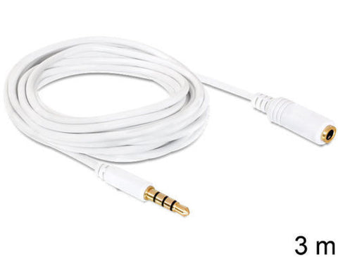 3.5mm stereo jack extension for iPhone/iPod/iPad with microphone support 4pin 3m - Optiwire.ie
