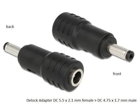 Adapter DC 5.5x2.1mm female > DC 4.75 x1.7mm male connect 5.5mm DC > 4.75mm port - Optiwire.ie