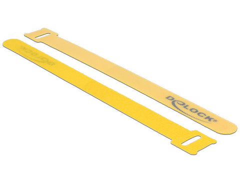 Delock Hook-and-loop fasteners L 200 mm B 14 mm 10 pieces yellow for fixation - Optiwire.ie