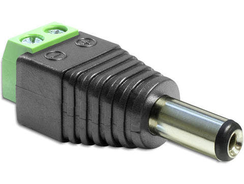 Delock Adapter DC 2.1 x 5.5 mm male > Terminal Block 2 pin / DC pin length 11 mm - Optiwire.ie