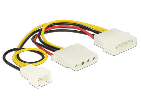 Delock Power Cable 4 pin male > 1 x 4 pin female + 1 x 3 pin male (fan) 14 cm