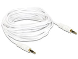 Delock Stereo Jack Cable 3.5 mm 3 pin male > male 5 m white ideal for aux / car - Optiwire - 2